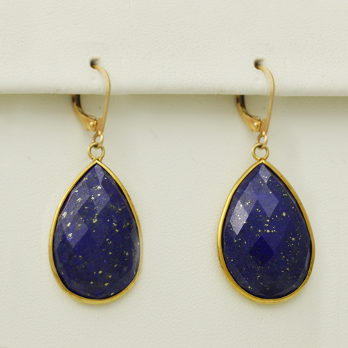 Lapis Lazuli Earrings in 14k yellow gold - Morgan's Treasure - Custom Jewelry
