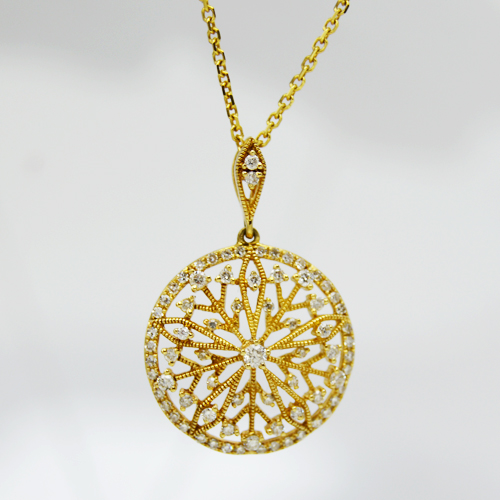14k Yellow Gold Disc Pendant with Cutouts and Diamonds - Morgan's Treasure - Custom Jewelry