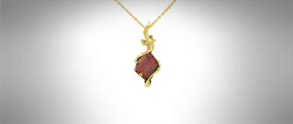 boulder opal pendant, yellow gold, custom jewelry