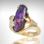 Custom Boulder Opal Ring set in 14k yellow gold - Morgan's Treasure - Custom Jewelry - www.morganstreasure.com