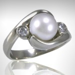 Custom Pearl Ring with Diamond Accents - Morgan's Treasure - Custom Jewelry