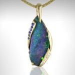 Custom Boulder Opal Pendant with Blue Sapphires and Diamonds - Morgan's Treasure - Custom Jewelry - www.morganstreasure.com