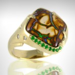 Custom Boulder Opal Ring with Green Tsavorite Diamond accents - Morgan's Treasure - Custom Jewelry - www.morganstreasure.com