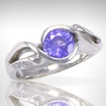 Purple Sapphire Ring in 14k White Gold with Diamond Accents - Morgan's Treasure - Custom Jewelry - www.morganstreasure.com