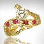 Custom Diamond and Ruby Engagement Ring - Morgan's Treasure - Custom Jewelry