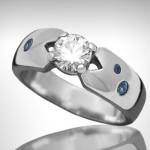 Custom Diamond Engagement Ring with Sapphires - Morgan's Treasure - Custom Jewelry