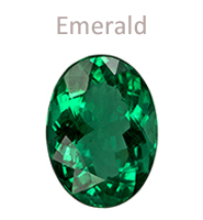 Emerald gemstone oval-cut May birthstone