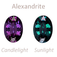 Alexandrite gemstone june birthstone color change