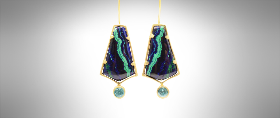 Malachite Azurite and Blue Zircon earrings in 14Kt Yellow Gold